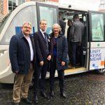 Begutachtung des autonomen Busses beim Landesverband Hessischer Omnibusunternehmer (09.03.2018)